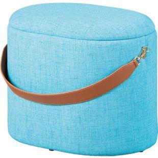 Dirax Fusshocker Hocker mit Aufbewahrung blau braun Sitzhocker Aufbewahrungsbox - Bild 1