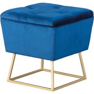 Suwas Fusshocker Hocker Aufbewahrung blau gold Sitzhocker Aufbewahrungsbox - Bild 1
