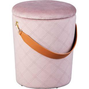 Narus Fusshocker Hocker mit Aufbewahrung rosa braun Sitzhocker Aufbewahrungsbox - Bild 1