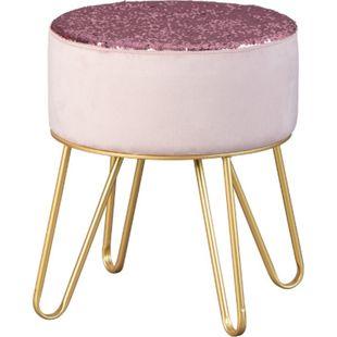 Belinda Fusshocker Hocker rosa gold Sitzhocker Hocker Fußhocker Polsterhocker - Bild 1