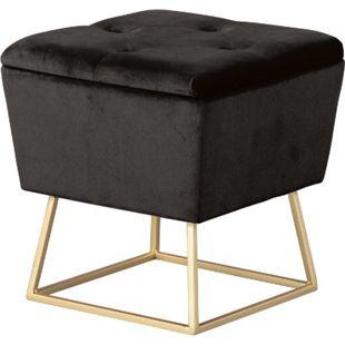 Suwas Fusshocker Hocker Aufbewahrung schwarz gold Sitzhocker Aufbewahrungsbox - Bild 1