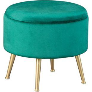 Willis Fusshocker Hocker Aufbewahrung grün gold Sitzhocker Aufbewahrungsbox - Bild 1