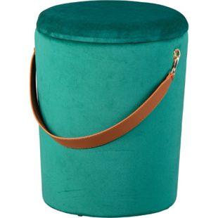 Pampurs Fusshocker Hocker Aufbewahrung grün braun Sitzhocker Aufbewahrungsbox - Bild 1