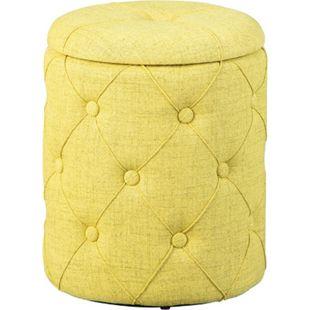 Ymas Fusshocker Hocker Aufbewahrung grün braun Sitzhocker Aufbewahrungsbox - Bild 1