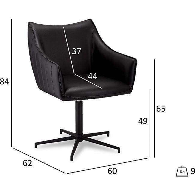 2x Alda Esszimmerstuhl Kunstleder schwarz Stuhl Set Esszimmer braun Stühle - Bild 1