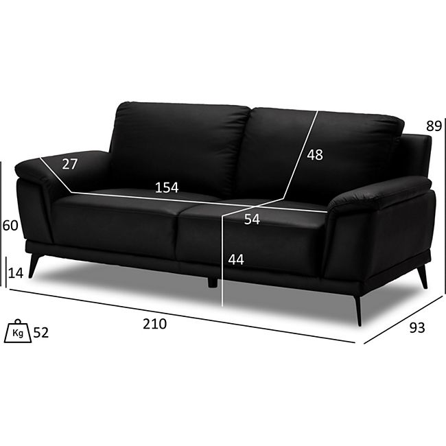 Donny Kunstleder Sofa 2 Personen schwarz Wohnlandschaft Couch Sofa Garnitur - Bild 1