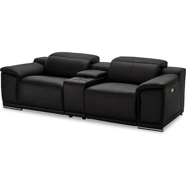 Alyssa Kunstleder Sofa 2 Personen schwarz Wohnlandschaft Couch Sofa Wohnzimmer - Bild 1