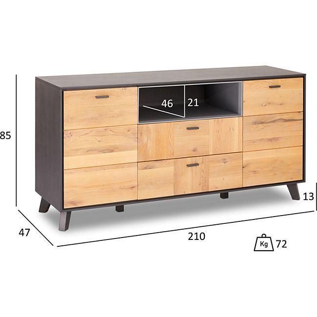 Seth Sideboard 2 Türen 2 Schubladen 1 offene Ablage grau Eiche Kommode Schrank - Bild 1