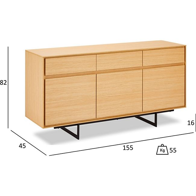 Tori Sideboard 3 Schubladen 3 Türen Eiche Furnier schwarz Kommode Schrank Möbel - Bild 1