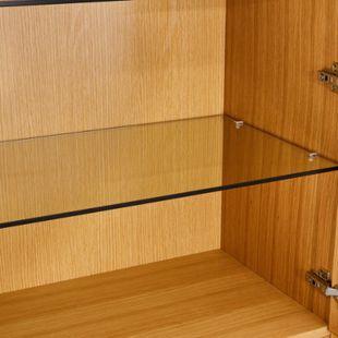 Tori Vitrinenschrank Glastüren Eiche Furnier Glas Vitrine Schrank Wohnzimmer - Bild 1