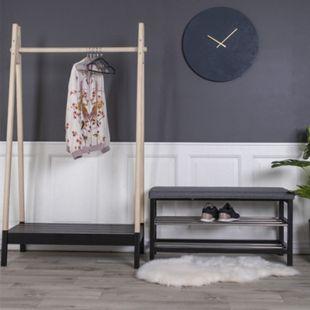 Paige Sitzbank mit Kissen 2 Regale grau Bank Flur Diele Holzbank Holz Wohnzimmer - Bild 1