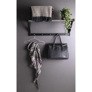 Paige Pappel Wandgarderobe schwarz Stahl Garderobe Flur Diele Kleiderständer - Bild 1