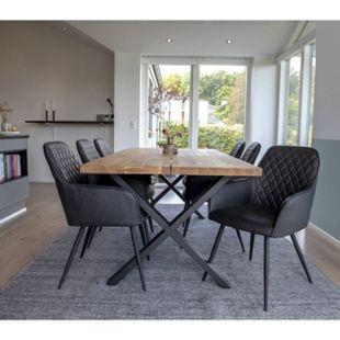 Moss 6+1 Esszimmergruppe Tisch Stühle grau Set Sitzgruppe Gruppe Esszimmer - Bild 1