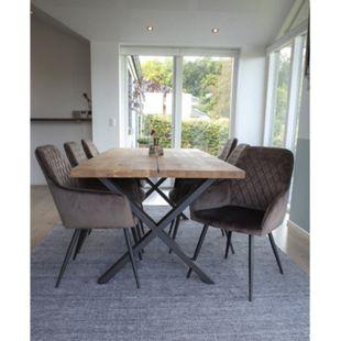 Moss 6+1 Esszimmergruppe Tisch Stühle braun Set Sitzgruppe Gruppe Esszimmer - Bild 1