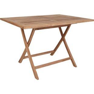 Oline Teak Gartentisch 80x120 Teakholz massiv Tisch Garten Beistelltisch Holz - Bild 1