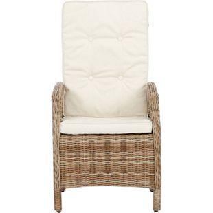2x Gram Gartenstuhl + Kissen natur offwhite Polyrattan Garten Möbel Stuhl Sessel - Bild 1