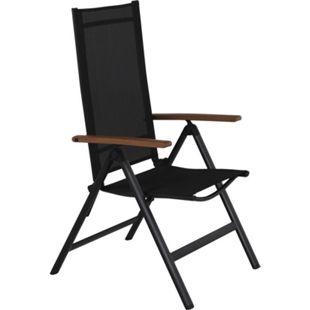 4x Lamira Gartenstuhl Positionsstuhl schwarz Polyrattan Garten Möbel Sessel - Bild 1