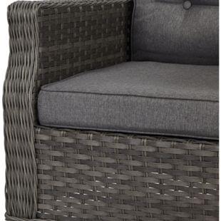 4x Oris Gartenstuhl + Sitzkissen grau hellgrau Polyrattan Garten Möbel Stuhl - Bild 1
