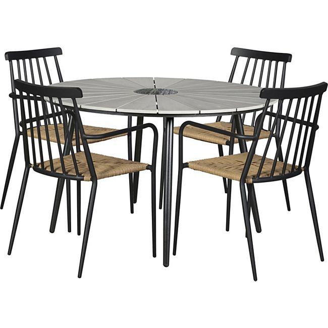 Dance 4+1 Sitzgruppe Gartenmöbel Gartengarnitur Marmor Tisch Stuhl Essgruppe - Bild 1