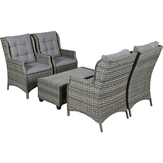 Oris Polyrattan Sitzgruppe 4+1 grau Sofa Gartenmöbel Tisch Stuhl Essgruppe - Bild 1