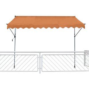 Leco Klemmmarkise 200x120cm Balkon Markise Spannmarkise Sonnenschutz orange - Bild 1