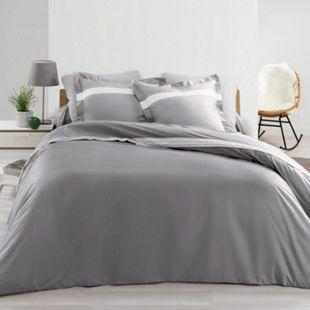 3tlg. Perkal Bettwäsche 240x220 Baumwolle Bettdecke Übergröße Bett Bezug grau - Bild 1