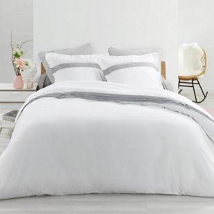 3tlg. Perkal Bettwäsche 240x220 Baumwolle Bettdecke Übergröße Bett Bezug weiß - Bild 1