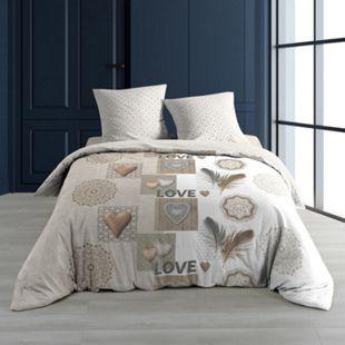 3tlg. Landhaus Bettwäsche 240x220 Baumwolle Bettdecke Übergröße Bett Bezug - Bild 1