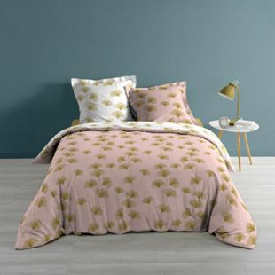 3tlg Wende Bettwäsche 240x220 Baumwolle Bettdecke Übergröße Bett Bezug rosa gold - Bild 1