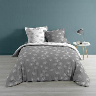 3tlg Wende Bettwäsche 240x220 Baumwolle Bettdecke Übergröße Bett Bezug grau weiß - Bild 1