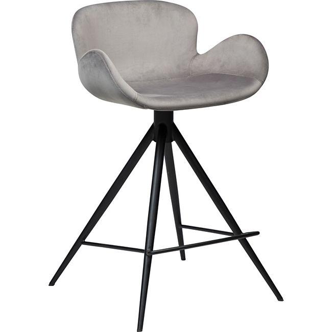 2x Barhocker Danform Gaia Velours grau Tresen Theke Hocker Küchenstuhl Stuhl - Bild 1