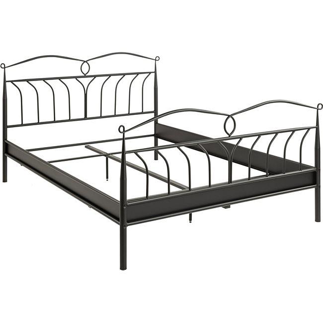 Metall Bett Linax 140x200 schwarz Ehebett Doppelbett Bettgestell Jugendbett - Bild 1