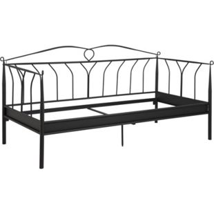 Metall Bett Linax 90x200 cm schwarz Einzelbett Gästebett Bettgestell Metallbett - Bild 1