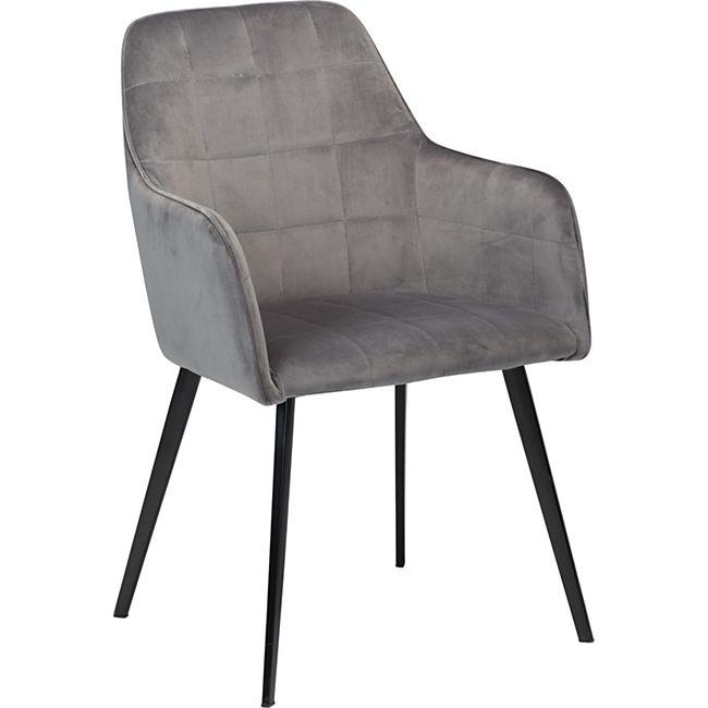 Esszimmerstuhl Danform Velours Armlehnenstuhl Polsterstuhl Küche Stuhl grau - Bild 1