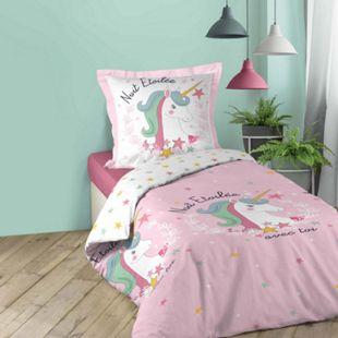 2tlg. Mädchen Bettwäsche 140x200cm Einhorn Baumwolle Bettdecke Bettgarnitur rosa - Bild 1