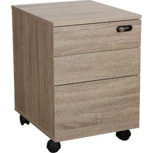 Rollcontainer abschließbar Holz Dekor Büro Schubladen Schrank Bürocontainer - Bild 1