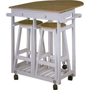 Küchenbar auf Rollen + 2 Hocker Küchentisch Tresen Tisch Sitzgruppe Küche Bar - Bild 1