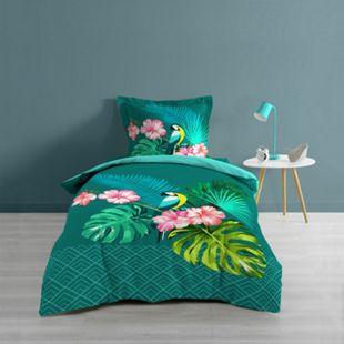 2tlg. Wende Bettwäsche 140x200 Tropic Baumwolle Bettdecke Bettbezug türkis - Bild 1