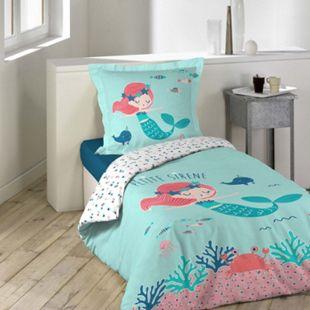2tlg. Kinder Wende Bettwäsche 140x200 Meerjungfrau Baumwolle Bettdecke Bettbezug - Bild 1