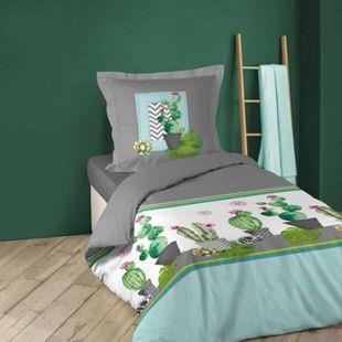2tlg Wende Bettwäsche Kaktus 140x200 Baumwolle Bettdecke Bettbezug Garnitur - Bild 1