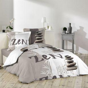 3tlg. Bettwäsche 240x220cm Zen Japan taupe Baumwolle Bettdecke Übergröße Bett - Bild 1