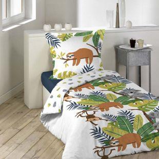 2tlg. Kinder Wende Bettwäsche 140x200 Dschungel Baumwolle Bettdecke Bettbezug - Bild 1