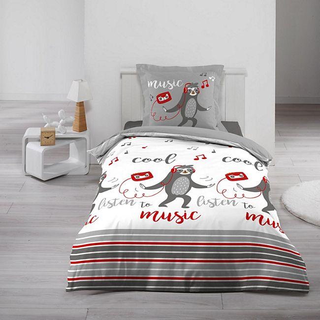 2tlg. Kinder Wende Bettwäsche 140x200 Faultier Baumwolle Bettdecke Bettbezug - Bild 1