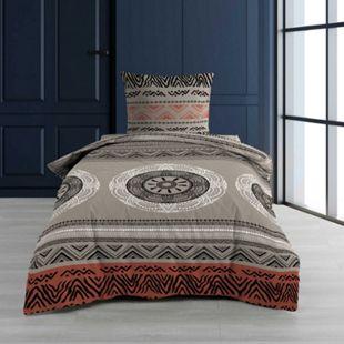 2tlg Bettwäsche 140x200 Baumwolle ethnisch Bettbezug Bettdecke Decke Garnitur - Bild 1
