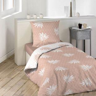 2tlg. Wende Bettwäsche 140x200 rose weiß Bettdecke Bettbezug Bett Decke Garnitur - Bild 1