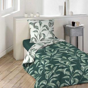 2tlg Wende Bettwäsche 140x200 Bettbezug Bettdecke Kissen Decke Bezug grün - Bild 1