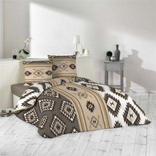 3tlg. Bettwäsche 240x220 braun Azteken Muster Bettdecke Übergröße Bett King Size - Bild 1