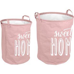 2tlg. Vintage Wäschesammler rosa Wäschekorb Laundry Wäschesack Aufbewahrung Korb - Bild 1
