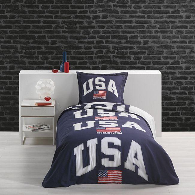2tlg Wende Bettwäsche Camps USA 140x200 Baumwolle Bettdecke Kissen Decke Bezug - Bild 1