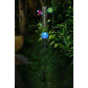 Solar Garten Wetterstation Regenmesser Schmetterlinge Metall Deko Gartenstecker - Bild 1